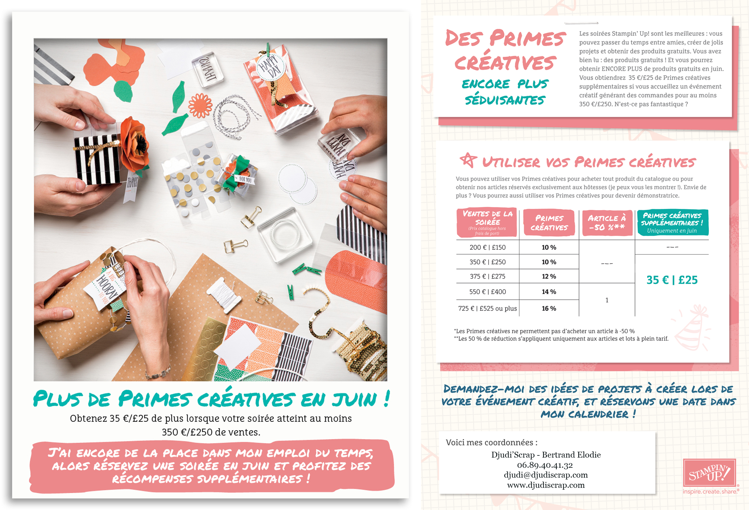 Stampin'Up! - Promotion Primes Créatives Juin