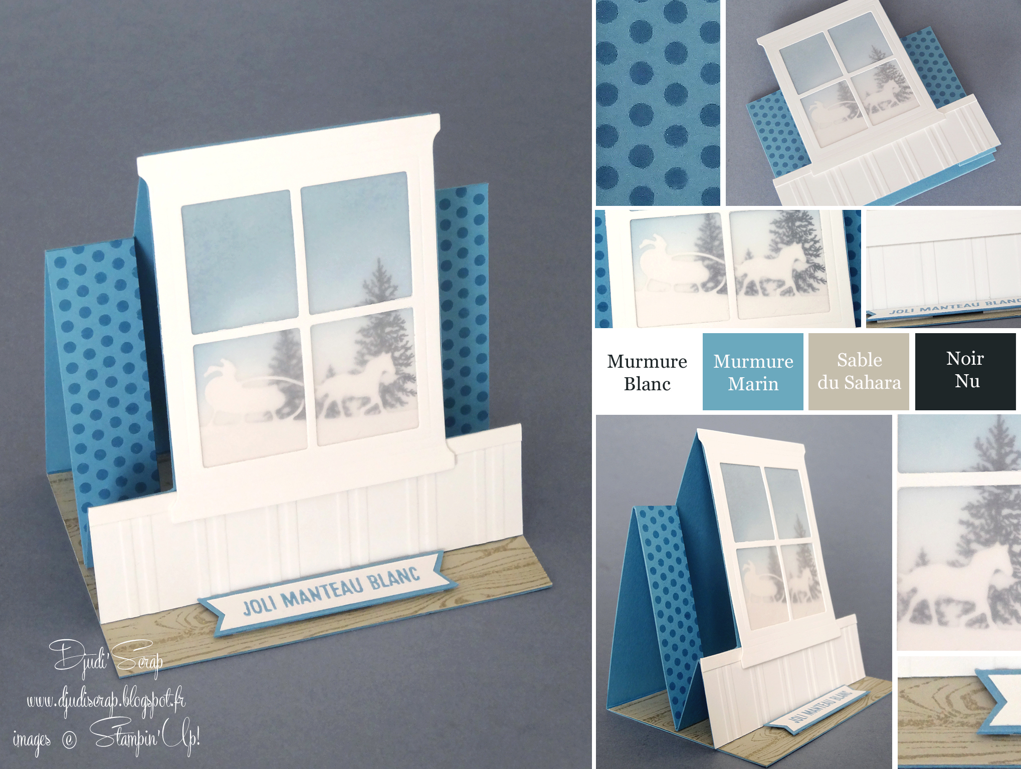 Tutoriel carte pop up no l thinlits foyer et chemin e djudiscrap - Carte de voeux scrapbooking ...