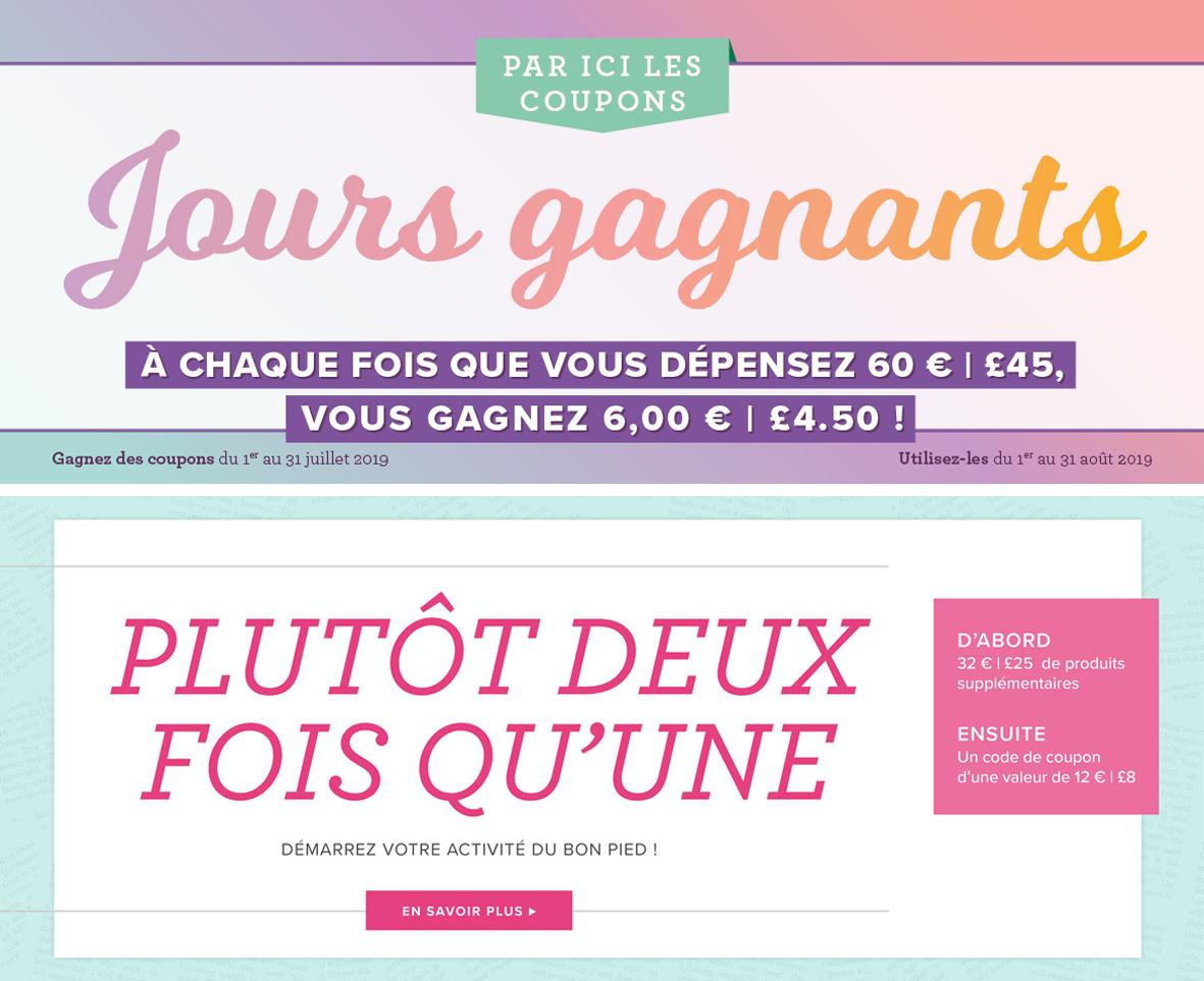 2019 07 01-31 Stampin'Up! Promotion Les Jours Gagnants et Offre Recrutement Plutôt Deux Fois Qu'une 1ok